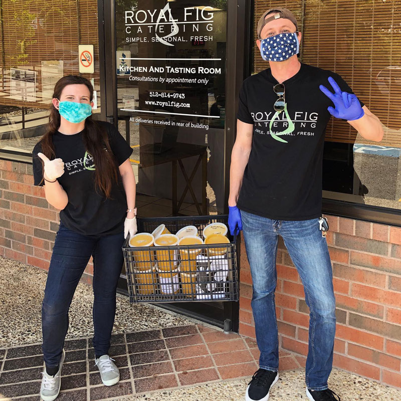 Royal Fig catering team members wearing masks and gloves.
