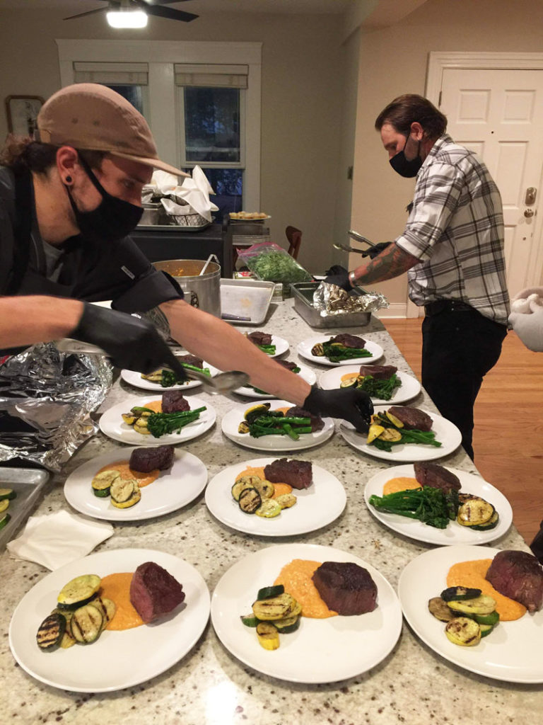 Behind the scenes Royal Fig, an Austin catering company, is taking COVID-19 seriously.