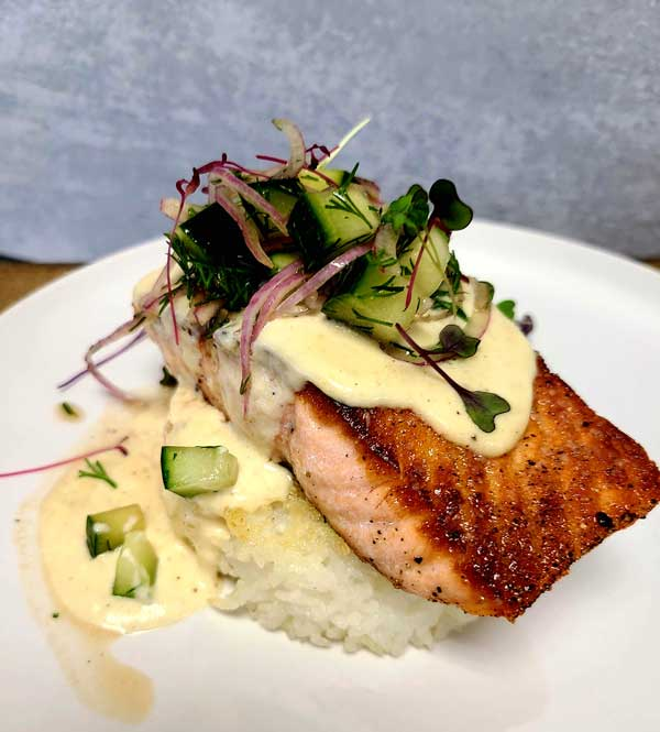 Wedding menu item from Royal Fig - Salmon over a bed of rice.